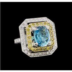 6.25 ctw Blue Zircon and Diamond Ring - 18KT White Gold