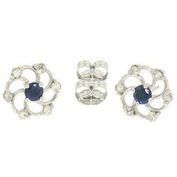 14K White Gold 1.0 ctw Diamond & Sapphire Open Flower Design Stud Earrings