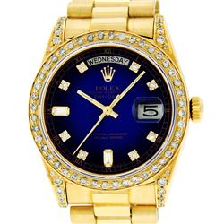 Rolex Mens 18K Yellow Blue Vignette Diamond Lugs Quickset President Wristwatch W