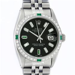 Rolex Mens Stainless Steel Black Baguette Diamond 36MM Datejust Wristwatch With