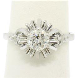 Vintage Platinum 0.68 ctw Round Transitional Diamond Solitaire Ring