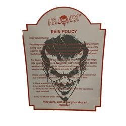 Hell Fest Rain Policy Sign Movie Props