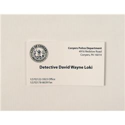 Prisoners Detective Loki (Jake Gyllenhaal) Business Card Movie Props