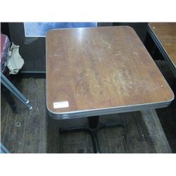 8 PIECES - 28 INCH X 24 INCH BROWN/CHROME RESTAURANT TABLES