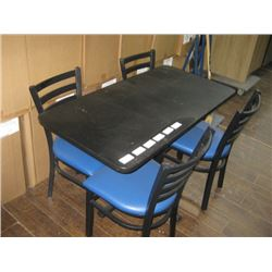 BLACK 24 X 48 REST TABLE WITH 4 PC BLUE PADDED CHAIRS