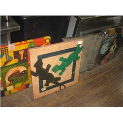 4PC HAND DRAWN TABLE TOPS WITH BASES