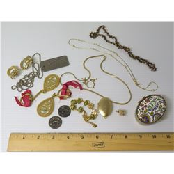 Misc Jewelry: Chains, Pearls, Earrings, Rings, Coins, Trinket Box, etc