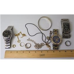 Qty 3 Watches: Lloyd's, Arnette, Marc Ecko & Necklaces, Rings, Bracelet (marked 925), etc