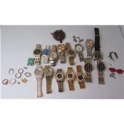 Qty 15 Replica Watches - Seiko, Geneva, Jaivinchi, Philip Persio & Misc Rings, etc