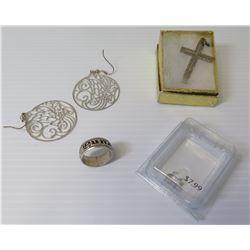 """Textured Silver Black-Enameled Hawaiian Ring """"Puna"""" 5.42 Grams & Cross Pendant, Earrings"""
