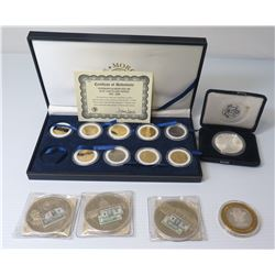 Statehood Quarter Dollars 24K Gold Plated 1999-2000 COA in Box & Misc Coins