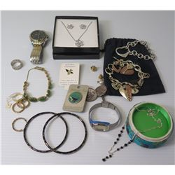 Misc Jewelry: Charm Bracelet, Bangles, Watch, Rings, Boxed Necklace/Earrings Set, etc
