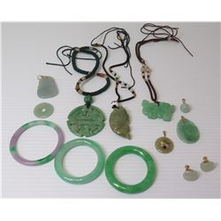 Qty 3 Jade or Jadeite Pendant Necklaces, 3 Bangles, Stone Charms, Earrings