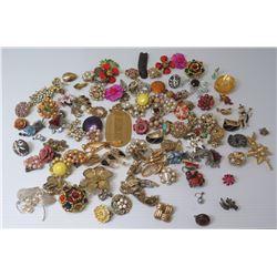 Misc Brooches & Earrings: Flowers, Rhinestones, Beaded, etc