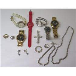 Qty 6 Watches (Seiko, Fossil, Michael Kors, etc), Misc Earrings, Rings, Cross Pendant