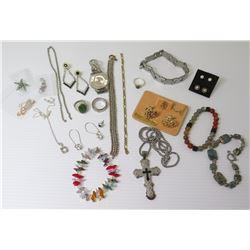 Misc Jewelry: Semi-Precious Stone Bracelets, Link Bracelets, Rings, Earrings, Cuff Links, Cross Pend