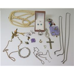 Misc Jewelry: Faux Pearl Necklace, Neck Chains, Sterling Opal Earrings w/ Box, etc