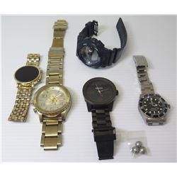 Qty 5 Replica Watches & 3 Black Tahitian Pearls