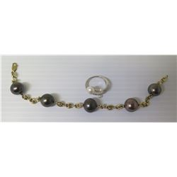 Link Bracelet w/ 5 Black Pearls & Pearl (or Faux Pearl) Ring, Size 6
