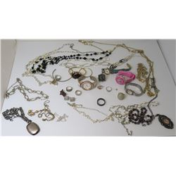 Misc Jewelry: Beaded & Chain Necklaces, Ring (stamped 925), Watches,  etc