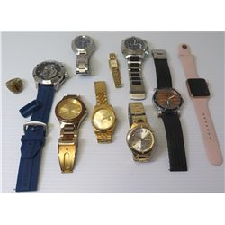 Qty 9 Watches: Gruen, Bewell, Stuhrling, Apple, Guess, Pono, Seiko, etc & Men's Ring