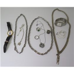 Qty 3 Thick Men's Link Neck Chains, Men's Stone Rings, Tiki Pendant, 2 Watches, etc