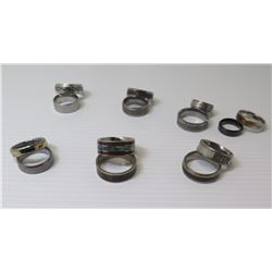 Qty 14 Band Rings: Sizes 5.5-13 w/ Etched Details, Enamel, etc