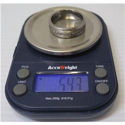 Men's Titanium Band Ring w/ Channel-Set Stones, 5.43 Grams, Size 11.5