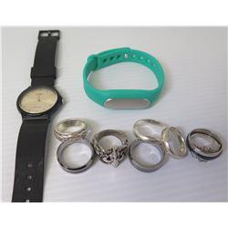 Qty 7 Rings (Sizes 5-9.5) - Fleur de Lis, Enamel Bands, Woven Design & 2 Watches