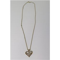 Rope Neck Chain w/ 'MOM' Heart Pendant w/ Stones, Stamped 925