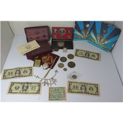 Misc Collectible Coins Sets, Currency, 5g Fine Silver, Charm Bracelet, etc