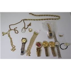 Qty 6 Replica Watches & Misc Link Chains, Ring, etc
