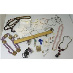 Semi-Precious Stone Necklaces, Bottle of Amethyst Stones, 'Name' Necklaces, Bracelets, Brooches, etc