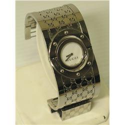 "Gucci Logo Silver Cuff Reversible Watch Bracelet, 1.5"" Wide"