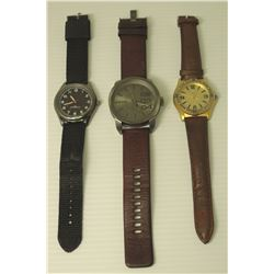 Qty 3 Watches: Diesel, Guess & FMD Japan Water Resistant w/ Leather Bands