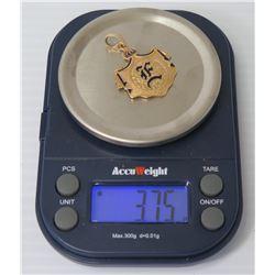 "14k Gold Hawaiian ""E"" Pendant w/ Black Enamel 3.75 Grams"