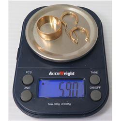 14K Gold Ring (Size 7) & Pair Hoop Pierced Earrings, 5.9 Grams Total