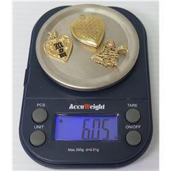 14K Gold Pendants: Heart Locket, Black-Enameled Heart & Love You, 6.06 Grams Total