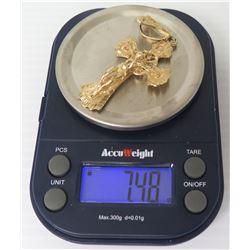 "14K Gold 2.5"" Cross w/ Jesus Pendant, 7.48 Grams"