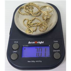 14K Qty 2 Rope Chain Bracelets, Black-Enameled Heart Pendant & Heart Ring (Size 6) 7.01 Grams Total