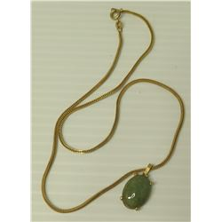 14K Gold Gold Chain w/ Jade or Jade-Like Stone Pendant (chain 4.11 Grams)