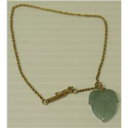 "14K Gold 9"" Chain Bracelet w/ Jade or Jade-Like Stone Pendant"