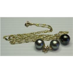 Tahitian Black Pearl Pendant w/ Chain and Pair of Earrings