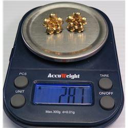 Pair of 18K Gold Floral Earrings, Approx. 2.87 Grams