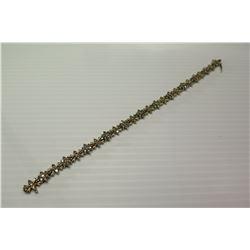 10K Gold Link Bracelet w/Small Diamonds, Floral & Bow Design
