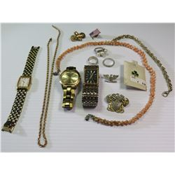 Mics Jewelry: Watches (Bulova, Seiko), Pearl Ring, Ring w/Black Enameled Lettering, Rope Chains, Nec