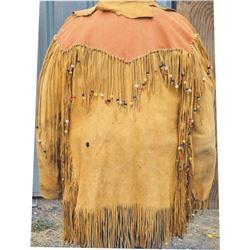 vintage fringed and beaded men's deer hide coat
