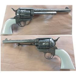 """Cimarron Frontier engraved .45, 7 ½"""" barrel #E071483, nickel plated, unfired in the box, copy of Ted"""