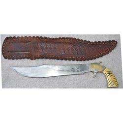clip blade knife and scabbard with unusual pistol grip bone handle