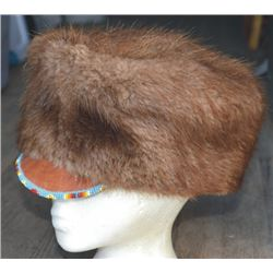 beaver hide hat with bead work